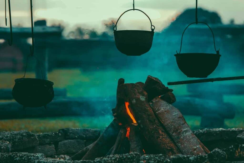 portable charcoal grill hanging
