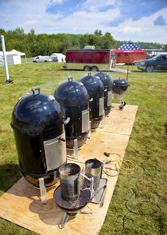 a row of vertical smokers